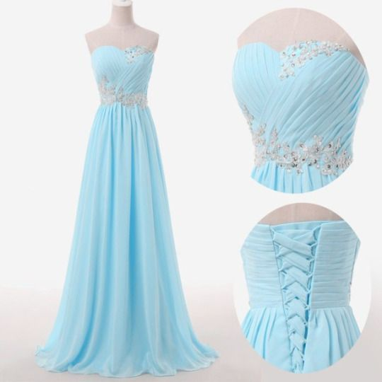 Elegant Chiffon Floor Length Sweetheart Light Blue Lace Up Back Prom Dress , Party Dresses, Evening Dresses, Long Prom Dress 2016,Graduation Dresses