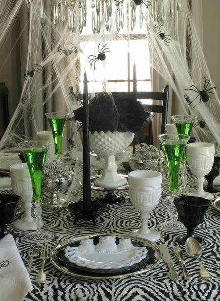 Love this black, white & green Halloween tablescape! http://sherimartininteriors.files.wordpress.com/2012/10/www-celebrateanddecorate-com-eddie-ross-halloween-table.jpg