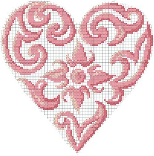 Diagramme gratuit DMC Coeur baroque