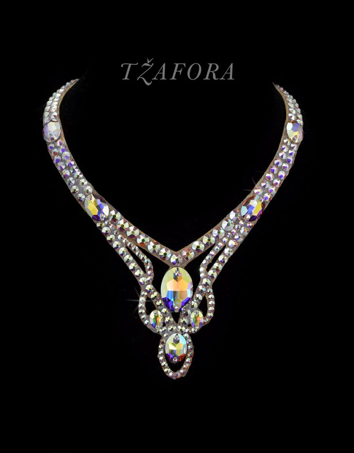 Swarovski ballroom necklace. Ballroom dance jewelry, ballroom dance dancesport accessories. www.tzafora.com Copyright © 2016 Tzafora.