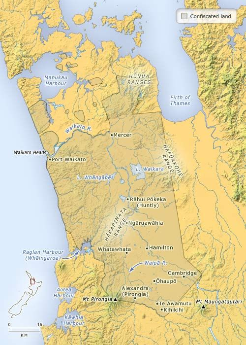 After the Waikato war, Māori-owned land in west Waikato was confiscated. Most of the Māori population withdrew behind the 'aukati' or boundary line of the Pūniu River, in what became known as the King Country (because the Māori King had taken refuge there). This map shows the boundaries of the land confiscated by proclamation of Governor George Grey in December 1864. That year soldier settlers moved into abandoned Māori villages, former military posts and new militia towns which were…
