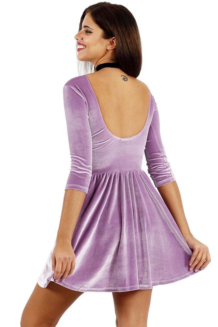 Premium pink velvet skater dress