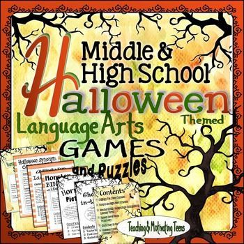 halloween games puzzles fun middle secondary ccss english language arts - Esl Halloween Games