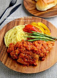 チキンのトマト煮☆パスタ&焼き野菜添え by JUNA(神田智美) | レシピサイト「Nadia | ナディア」プロの料理を無料で検索