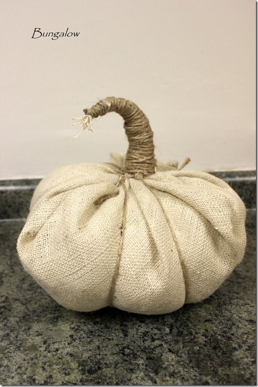 Here's a burlap pumpkin with no sewing - super easy & cute we could add burlap leaves and a paper ribbon curl  - Cute!  Need plastic sacks - bunches