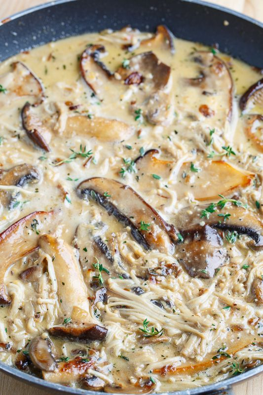 A creamy mushroom sauce made even creamier with brie that is perfect on everything from pasta to steaks to veggies!