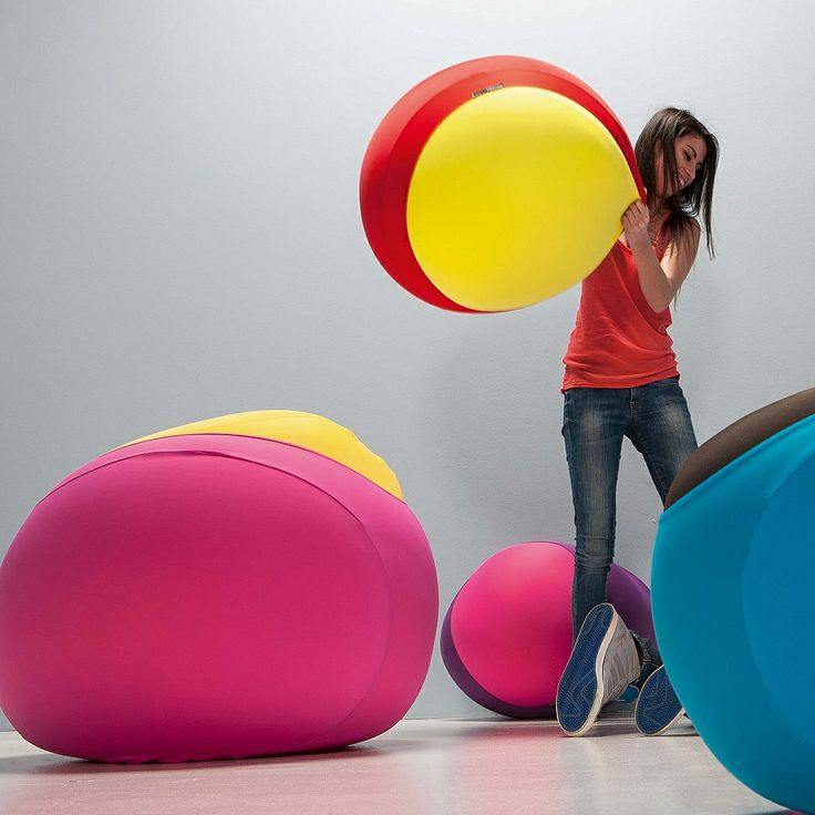 Sphere expandable pouf. Flamboyant colours, soft fabric and reliable and durable materials. Fun with Myitaianliving.com