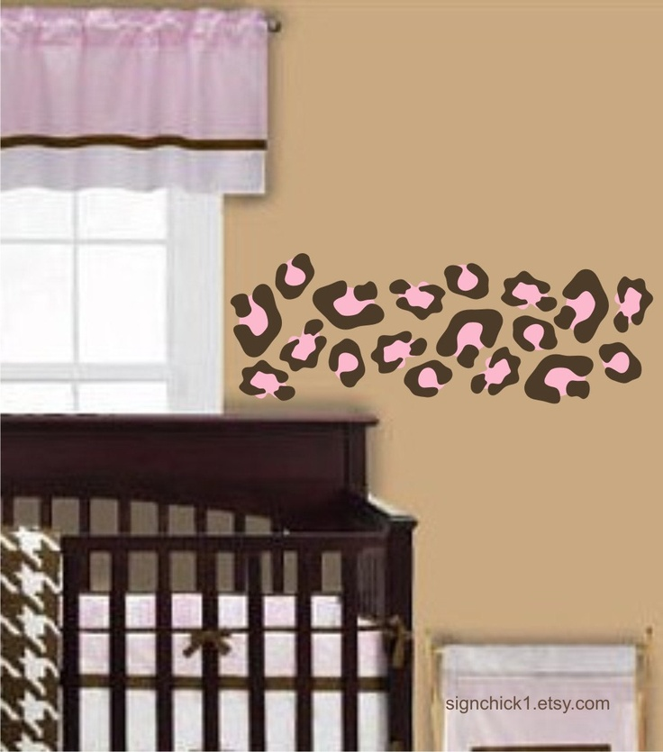 Pink and brown Animal Print wall decals LARGER SIZE Leopard Spots set of 50 decals choose colors