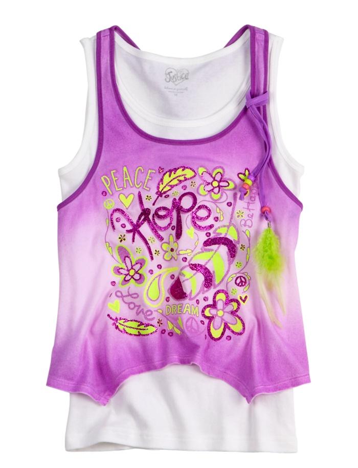 Girls Clothing | Tanks & Bandeaus | Flowy Poster Art 2fer Tank | Shop Justice