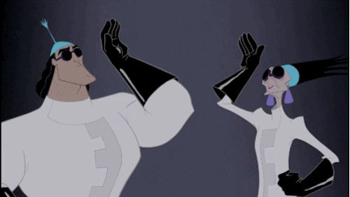 New party member! Tags: animation gif disney high five walt disney animation studios the emperor's new groove yzma kronk