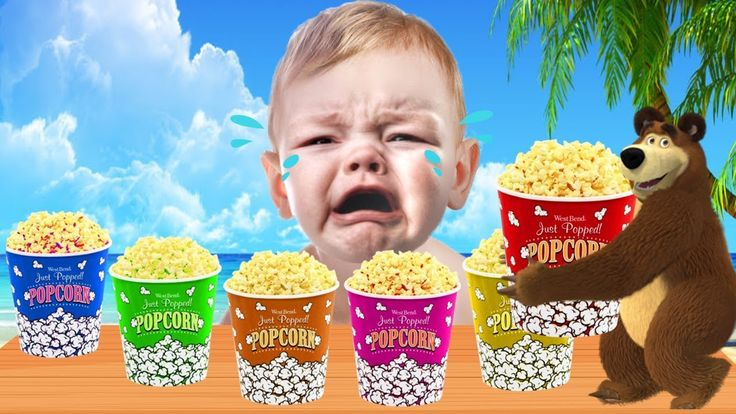 Learn Colors with Masha Bear and giant Popcorn  - Bad Baby Crying to lea...