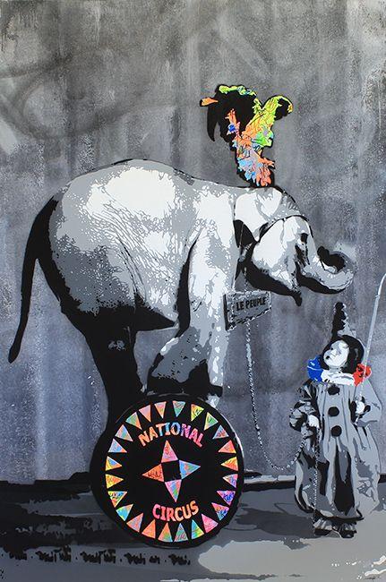 "KURAR street artist artwork named "" NATIONAL CIRCUS "" more details on ; kurar.fr/#home"