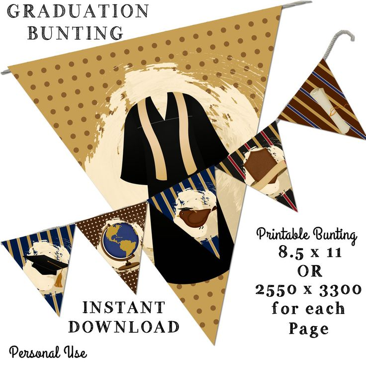 Printable Bunting -Graduation Bunting -8.5 x 11 -Instant Download-Pretty Room Decorations by JustDigitalPapers on Etsy