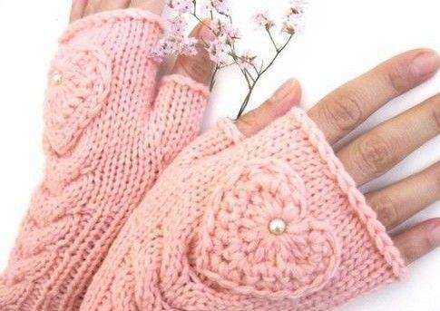 mitenki różowe