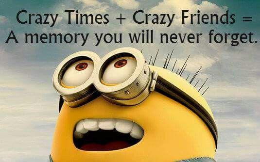 Minion Quotes Tempo pazzesco + amici pazzi = Una memoria che non dimenticherete mai.