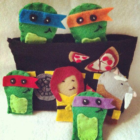 Felt Finger Puppets  Ninja Turtles  by CourtneyFeltCreation