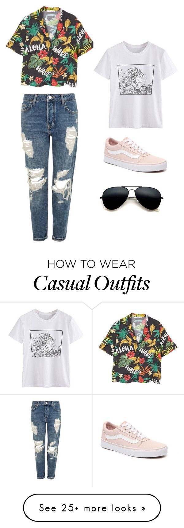 """Happiness Comes in Waves"" by riley-specht on Polyvore featuring MANGO, Topshop, Vans, casualoutfit, women, polyvorefashion and polyvoreset"