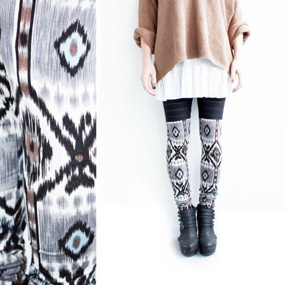 Printed Leggings, Womens Leggings, Faux Thigh High Leggings, Ikat Leggings, Handmade, Patterned Leggings, Made in Canada, Norwegian Wood