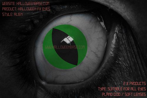 Alien Halloween Contact Lenses - Shop Now at www.HalloweenBase.com Green Contacts from $26.95 per pair
