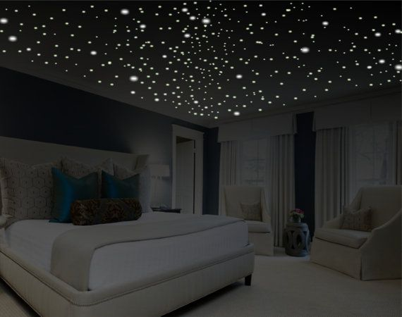 Romantic bedroom decor, glow in the dark stars, romantic gifts, romantic wall decal, romantic wall art, removable wall decals, ceiling decal