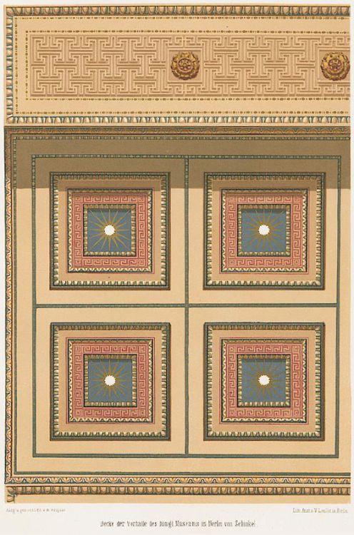 Karl Friedrich Schinkel, Coffered ceiling, Altes Museum, Berlin. Built 1825-30. Kassettendecke in der Vorhalle (Portikus). Source: University of Heidelberg.