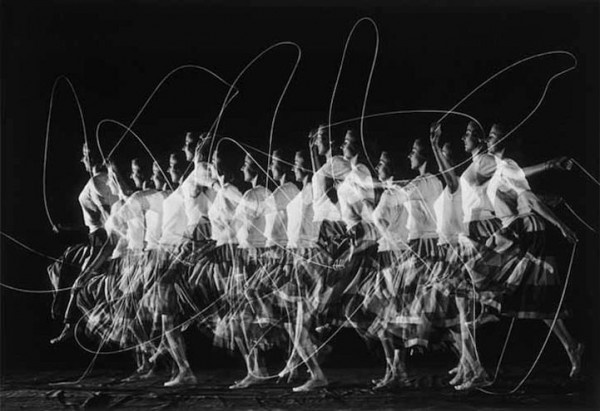 Girl skipping by Harold Edgerton. Interesting repeat pattern made by her feet. Multiple flash photography over a couple of seconds. V. effective way to create movement in a photograph.