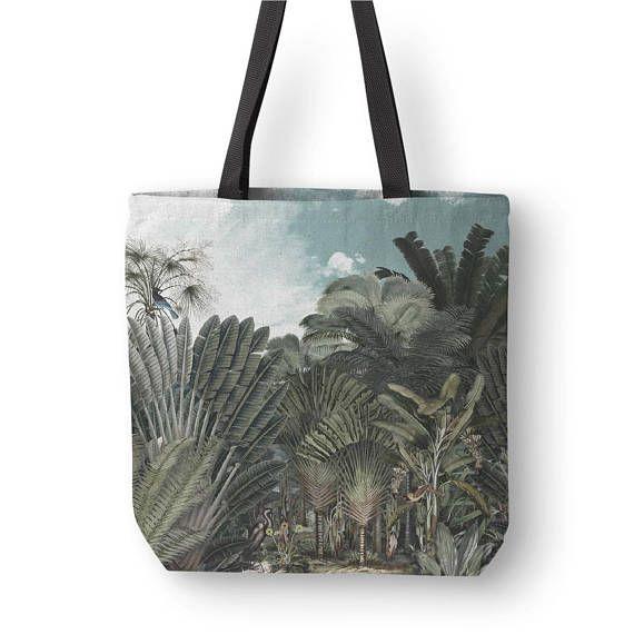 Vintage Illustration Tote Bag Botanical Tote Tropical Tote