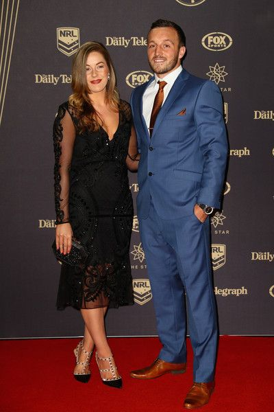 Josh Hodgson of the Canberra Raiders and partner Kirby Smith arrive at the 2016 Dally M Awards at Star City on September 28, 2016 in Sydney, Australia.