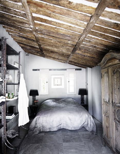 rustic bedroomRustic Bedrooms, Loft Bedrooms, Architecture Interiors Design, Dreamy Bedrooms, Beds Nooks, Bedrooms Interiors, Gray Wall, Mediterranean Bedrooms, Gray Bedrooms