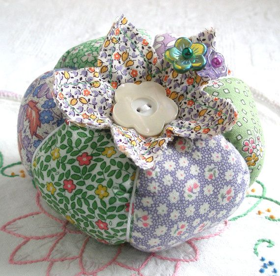 Pincushion Purple and Green 1930's Print Granny by fiberluscious