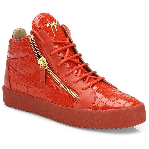 Giuseppe Zanotti Croc-Embossed Patent Leather Sneakers : Giuseppe... ($840) ❤ liked on Polyvore featuring men's fashion, men's shoes, men's sneakers, apparel & accessories, fiamma, mens patent leather shoes, mens patent leather sneakers, mens patent shoes, mens crocodile shoes and giuseppe zanotti mens sneakers