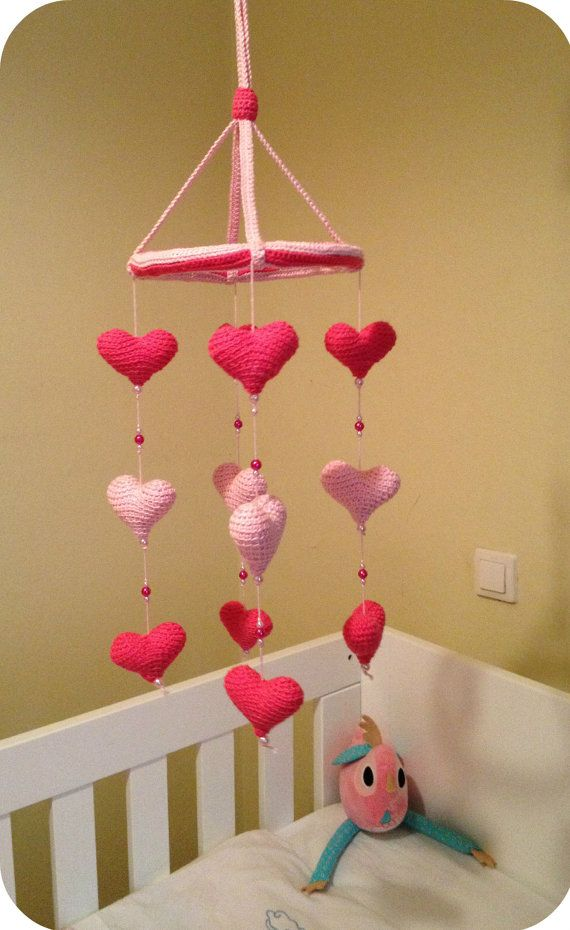 Baby crib mobile with pink and fuchsia crocheted hearts, nursery hearts mobile on Etsy, $33.85
