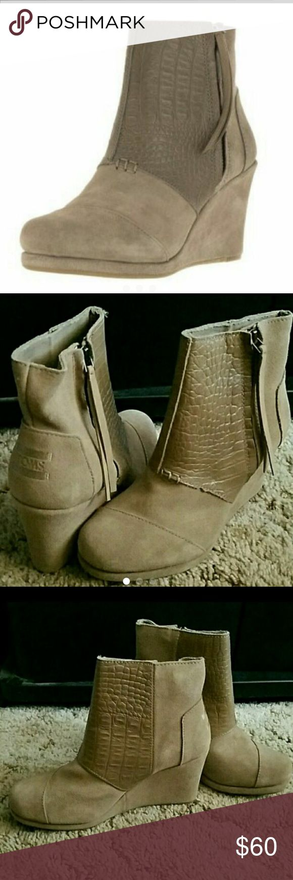 FREE SOCKS! TOMS DESERT WEDGE BOOTIES NEW. NO BOX TOMS Shoes Ankle Boots & Booties