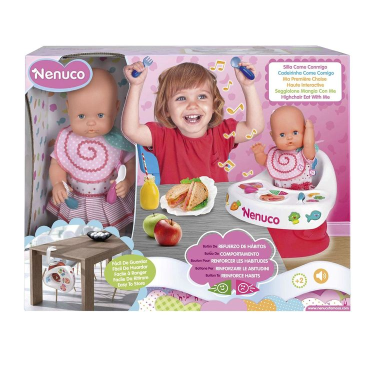 Aan tafel! Tijd om je poppenbaby eten te geven in deze kinderstoel. Schep een lepeltje denkbeeldig eten op en neem zelf ook een hapje. Wat is de baby lekker aan het smullen! Geef haar een compliment door op één van de muzikale knoppen te drukken. Spelen met deze set draagt bij aan de emotionele ontwikkeling, stimuleert creativiteit en de ontwikkeling van gewoontes. In de set vind je een Nenuco pop en een gemakkelijk te bevestigen tafelstoel van stevig kunststof. Afmeting: verpakking 55 x 14…
