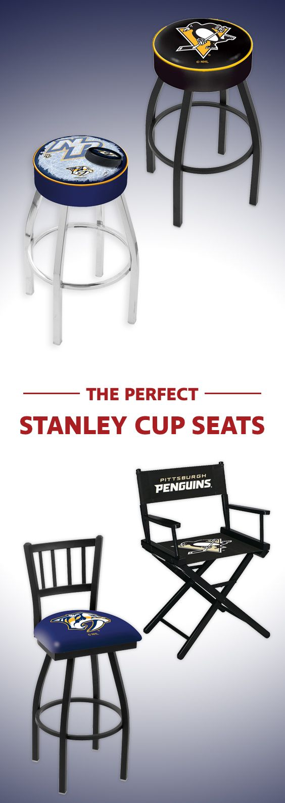 Pittsburgh Penguins and Nashville Predators seating we love!  . . . . Nashville, Pittsburgh, Hockey, sports room seating, sports team furniture, hockey furniture, hockey docorations