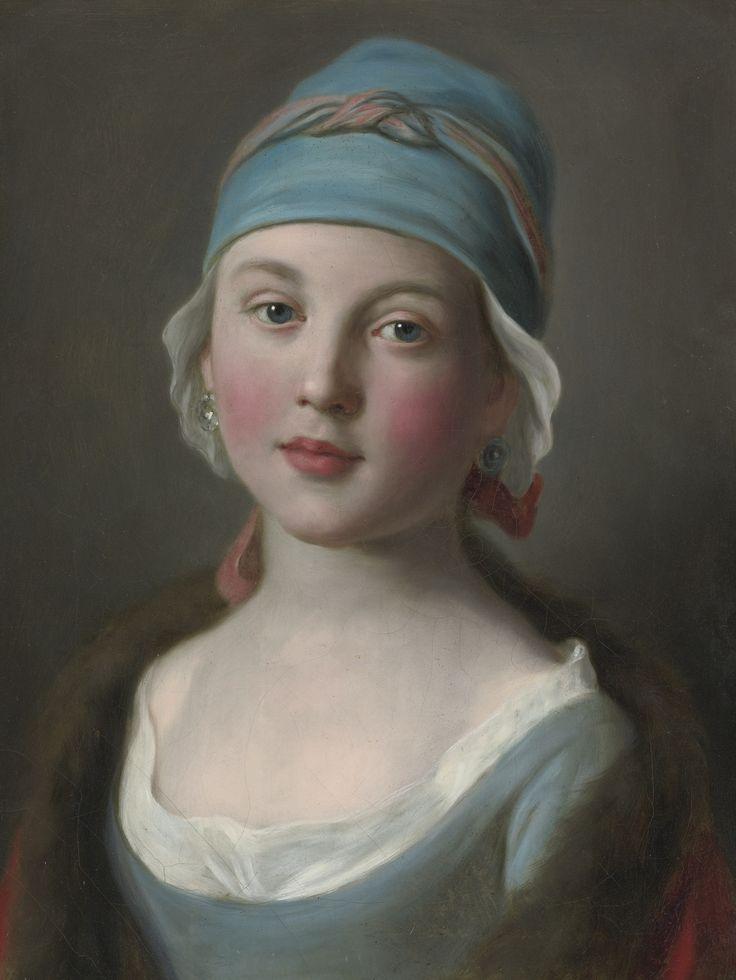 PIETRO ANTONIO ROTARI VERONA 1707 - 1762 ST PETERSBURG PORTRAIT OF A RUSSIAN GIRL IN A BLUE DRESS AND HEADDRESS