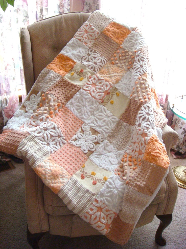 peaches and cream vintage chenille cool way to use old chenille blankets - Chenille Blanket