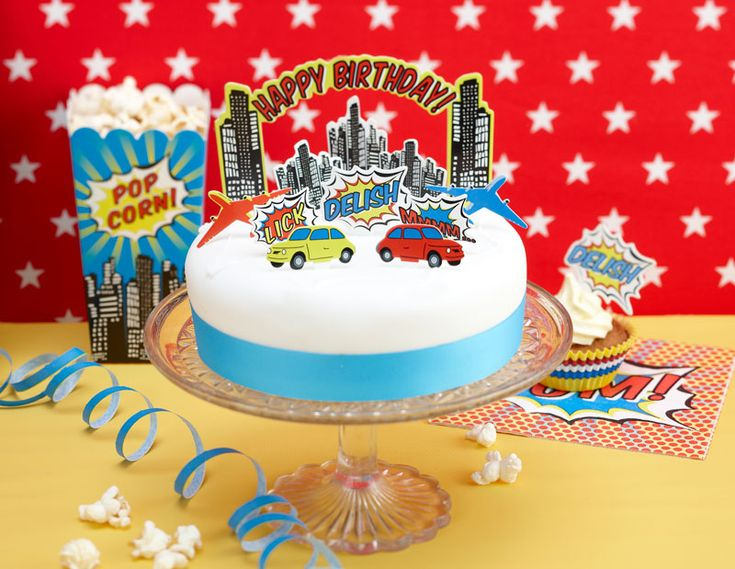 : HAPPY BIRTHDAY CAKE TOPPERS   POP ART PARTY #hatchandblossom