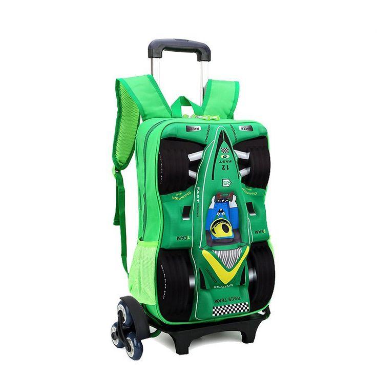 Rolling EVA Children School Wheeled Bags 3D Car Racing Design Trolley Suitcase Kids Trolley School Bag 2015 Children School Bags
