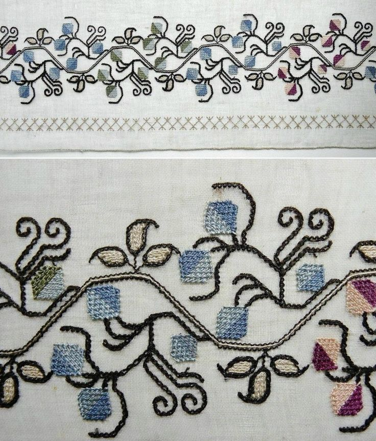 Details of a large embroidered headscarf (fragment), Crimean Tatar, from Turkey, ca. 1900.  Called 'marama'.  Embroidered in mercerized cotton on cotton (organdy), 79 cm wide fragment, with two existing ends.  Height of embroidery (from the tip of twigs to the edge of cloth): 12 cm.  The design and technique are similar to embroideries seen in 19th century pieces produced in Ottoman Turkey.  (The Asiye-Zeynep Collection, Washington DC).