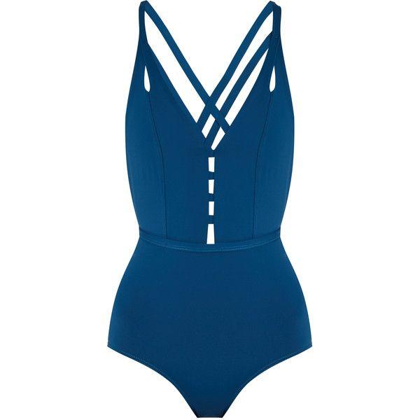 Ephemera Crossed double-strap swimsuit found on Polyvore featuring swimwear, one-piece swimsuits, blue swimsuit, blue bathing suit, strappy one piece swimsuit, swimsuit swimwear and blue one piece swimsuit