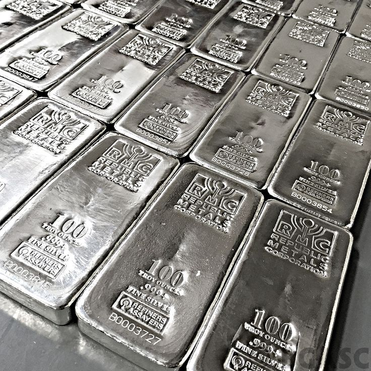 100 oz Republic Metals RMC Cast Silver Bars .999 Fine Silver Bullion Ingot…
