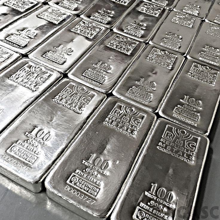 100 oz Republic Metals RMC Cast Silver Bars .999 Fine Silver Bullion Ingot…