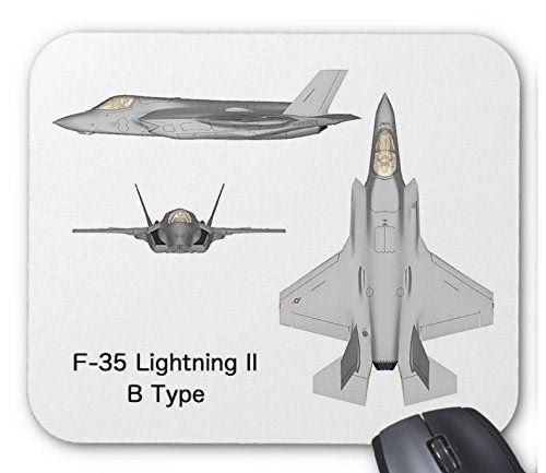 ステルス戦闘機 F-35の三面図のマウスパッド:フォトパッド(世界の戦闘機シリーズ) (B)