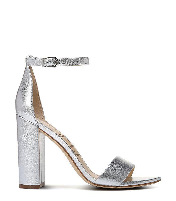 silver block heel sandals sam edelman