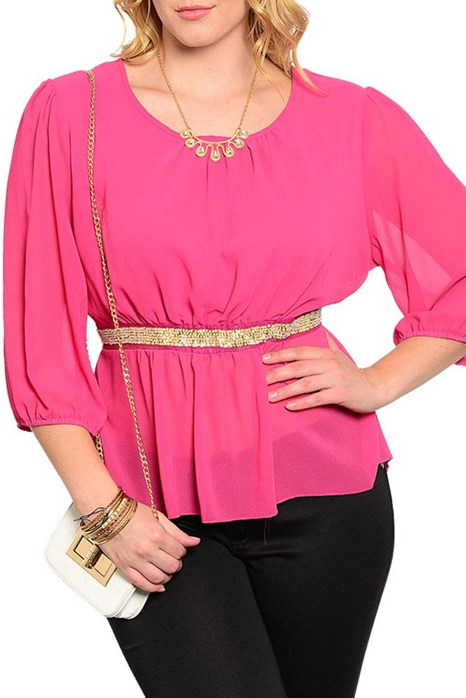 DHStyles Women's { BEST SELLER } Magenta Plus Size Sexy Sheer Chiffon Embellished Waist Dressy Top #sexytops #clubclothes #sexydresses #fashionablesexydress #sexyshirts #sexyclothes #cocktaildresses #clubwear #cheapsexydresses #clubdresses #cheaptops #partytops #partydress #haltertops #cocktaildresses #partydresses #minidress #nightclubclothes #hotfashion #juniorsclothing #cocktaildress #glamclothing #sexytop #womensclothes #clubbingclothes #juniorsclothes #juniorclothes #trendyclothing…