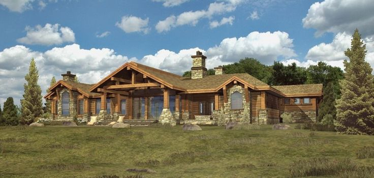 Unique ranch style house plans custom log modular home for Single story log cabin homes