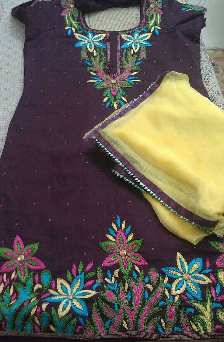 Machine Embroidered Pure Cotton Suit in Brown Color,With Pure Chinon Chiffon Dupatta