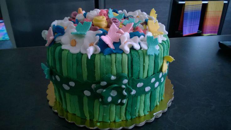 Torta, cakes, birthday, compleanno, flowers, fiori, erba, bouquet, pdz, mmf, Pink, rosa, White, bianco, blue, green, verde, ribbon, fiocco, fondent