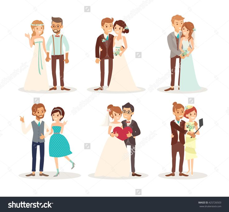 cute wedding couple bride and groom isolated on white background, vector cartoon illustration